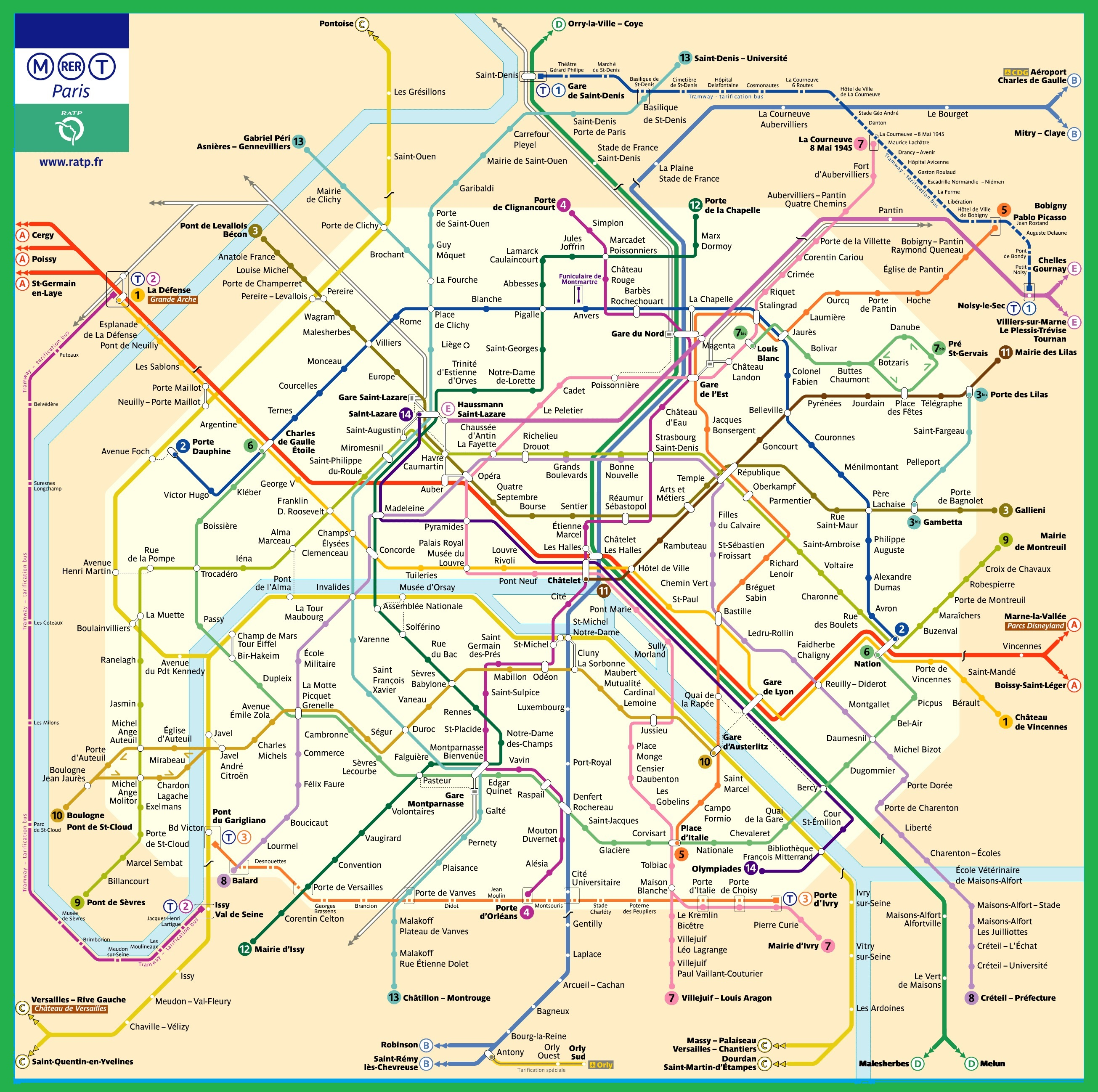 plan du metro de paris 2017 - Photo